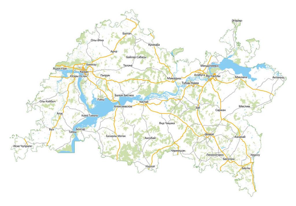 Карта Татарстана на татарском языке