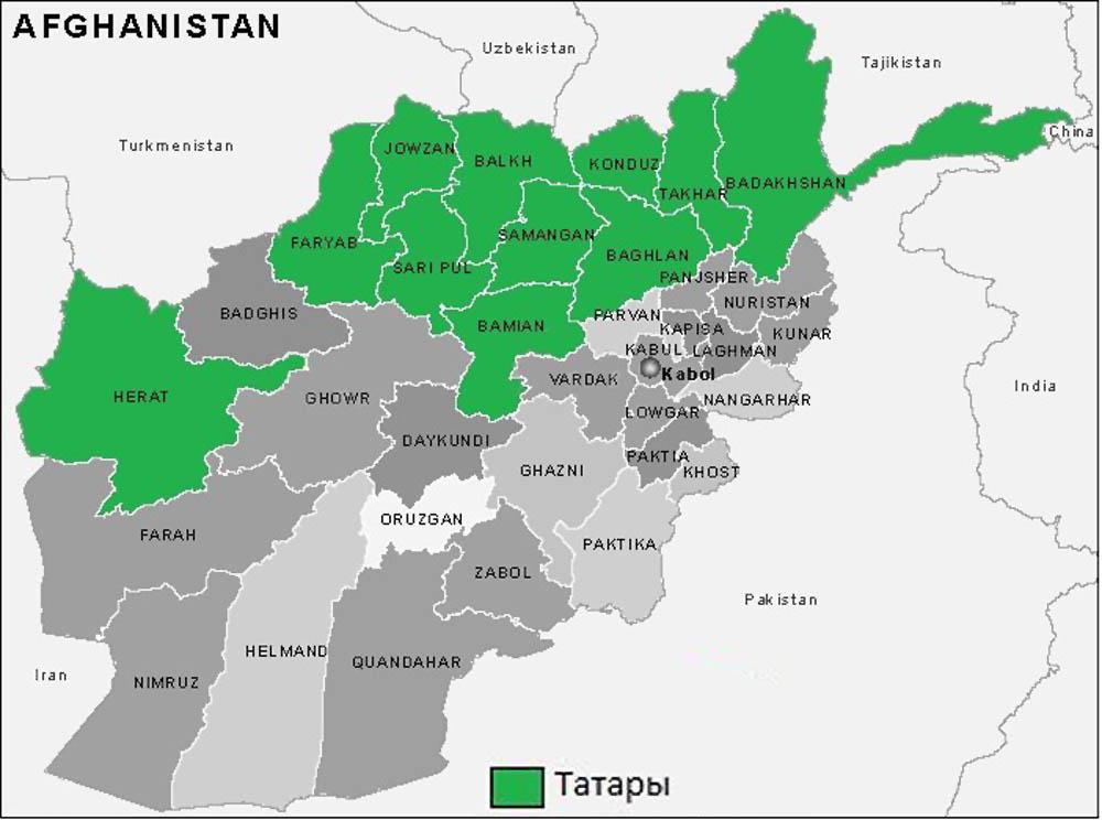 Места проживания татар Афганистана