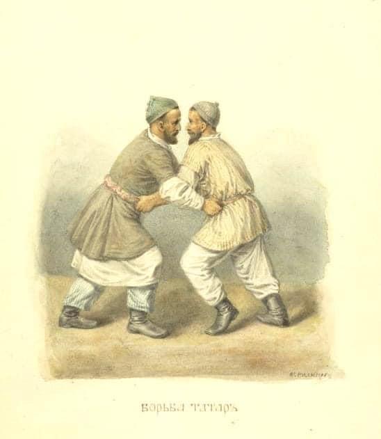 Татарская национальная борьба на поясах Корэш 1830 год